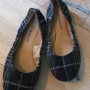 Lucky Brand Emmie Flats - Black Plaid - Size 7